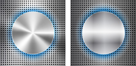 inset: Abstract background with circle metallic inset. illustration