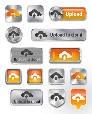 Collection of Upload to cloud metallic and glossy buttons. illustration Vector