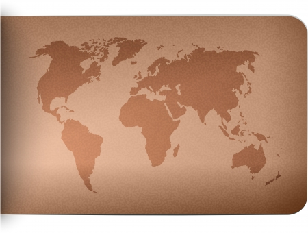 leather background: World map on leather texture background. illustration