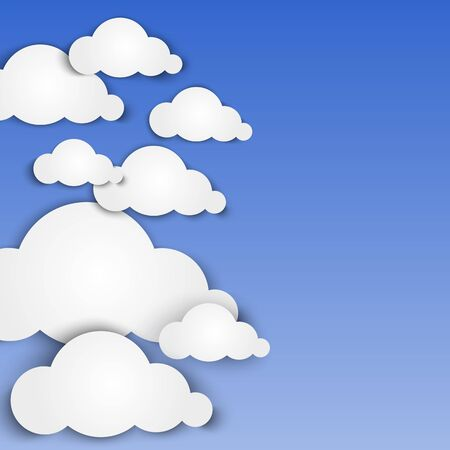 cloud shape: Paper clouds on blue background. illustration