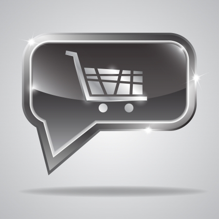 Metallic bubble with shiny shopping cart shape. illustration Stock Vector - 18562546