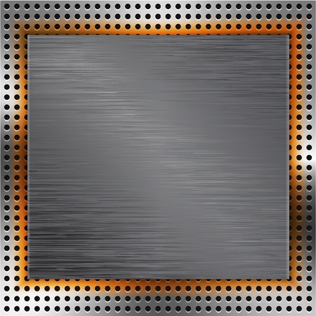inset: Abstract background with brushed metal inset and orange light. illustration