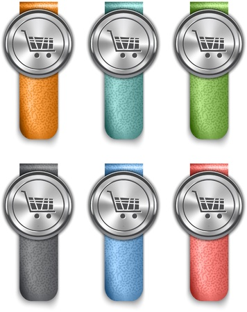 straps: Online store metallic web elements on colorful leather straps. illustration