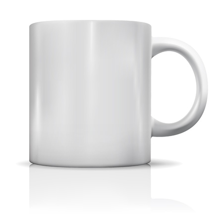 Photorealistic blank white cup with reflection. Vector illustration Vector