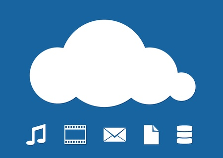 Cloud Computing abstract illustration on blue background  illustration Vector