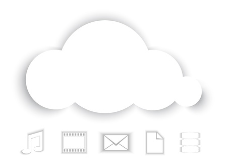 paper cut out: Cloud Computing abstract illustration, with paper cutouts  illustration Illustration
