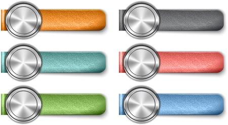 straps: Blank metallic web elements with color leather straps. illustration Illustration
