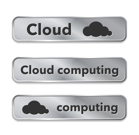 Cloud computing metallic web elements, buttons. Illustration Vector