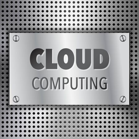 Abstract Cloud Computing concept background with metal inset Vector