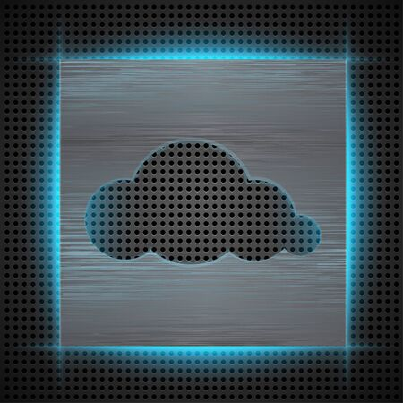 Abstract background with brushed metal inset and cloudscape cut   illustration Stock Vector - 18791865