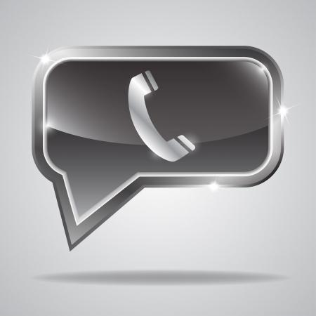 Metallic bubble with shiny phone icon   illustration Vector