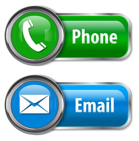 Telefoon en e-mail glossy web design elementen illustratie
