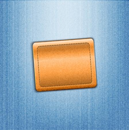 jeans texture: Brown leather label on blue jeans background illustration Illustration
