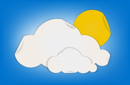 Cloud and sun shape weather icon made by folded paper  Vector illustration Stock Vector - 18873750