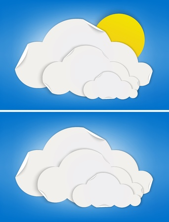 partly: Mostly cloudy and cloudy weather signs made by folded paper  Vector illustrations