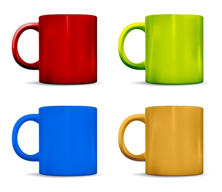 photorealistic: Photorealistic colorful cups  Vector illustration