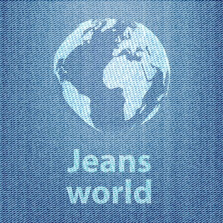 Jeans world concept with the globe on denim texture background  Vector illustration Vector