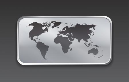 somewhere: World map on brushed metal web elements  Vector illustration