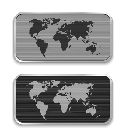 somewhere: World map on brushed metal app icons. Vector illustration Illustration