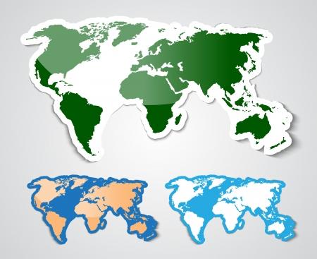 World map in sticker style.  illustration Illustration