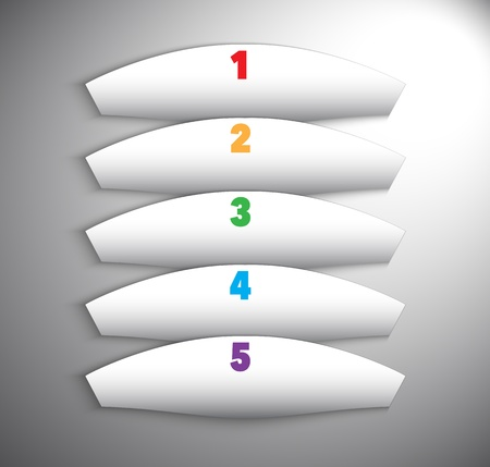 Numbered abstract white banners with shadows. Vector illustration Vector