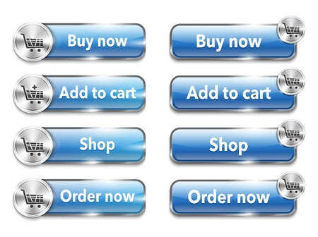 purchase order: Metallic web elementsbuttons for online shopping. Vector Illustration