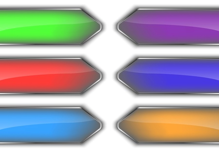 Set of colorful glossy arrow banners. Abstract background. Vector illustration Vector