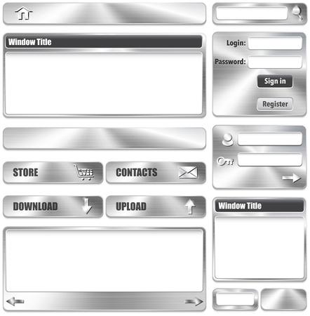 Metallic website interface design elements. Vector Illustration Stock Vector - 19374090
