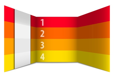 inset: Red and yellow numbered rows in perspective like a 3d wall. Vector illustration