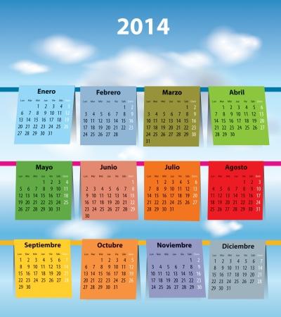 laundry line: Calendario espa�ol para 2014 como lavar la ropa en el lunes primera ilustraci�n vectorial clothline