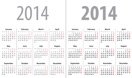 january 1st: Calendar grid for 2014. Mondays first. Regular and bold grid. Vector illustration