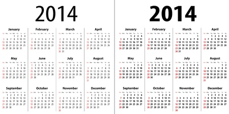 Calendar grid for 2014. Sundays first. Regular and bold digits grid. Vector illustration Vector