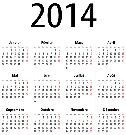 French Calendar grid for 2014. Mondays first. Vector illustration