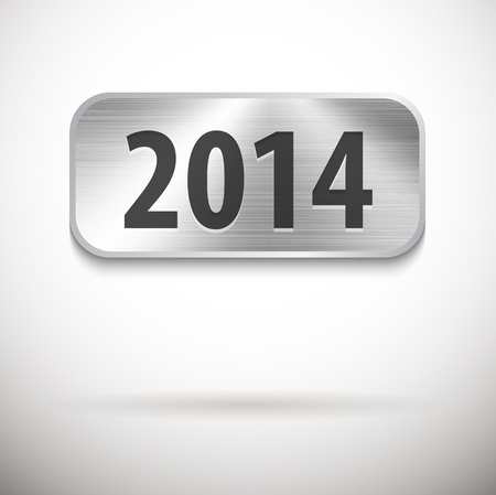 2014 digits on brushed metal tablet. Vector