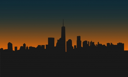commercial district: Modern city scape at sunset. Vector illustrator