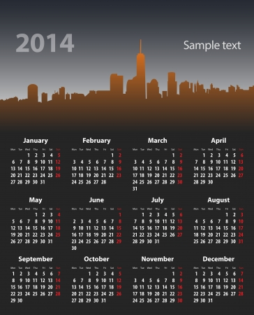 mondays: 2014 year stylish calendar on cityscape background. Mondays first. Vector illustration