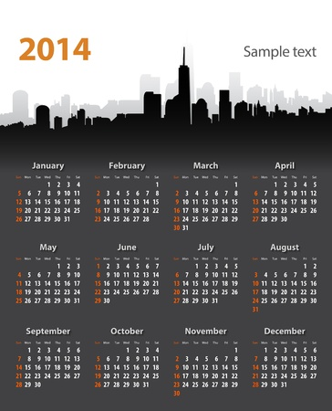 2014 year stylish calendar on cityscape background. Sundays first. Vector illustration Vector