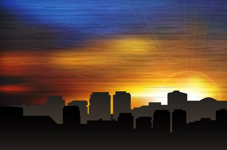 clouds scape: City scape at sunset. Vector illustration