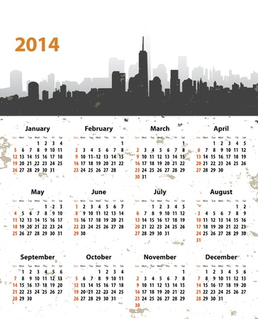 2014 year stylish calendar on cityscape grunge background. Sundays first. Vector illustration