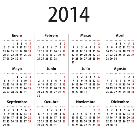 Spanish Calendar for 2014. Mondays first. Bold digits. Vector illustration Illustration