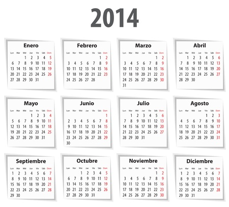 mondays: Spanish Calendar for 2014 with shadows. Mondays first. Vector illustration Illustration