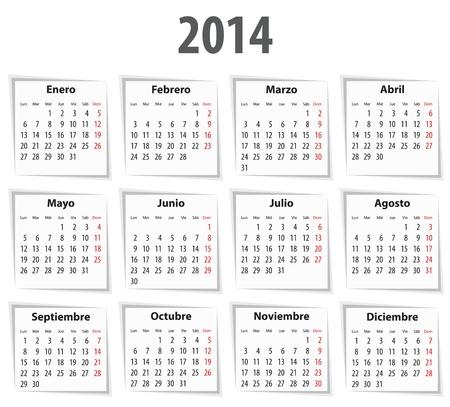Spanish Calendar for 2014 with shadows. Mondays first. Vector illustration Ilustrace