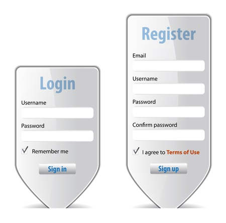 log in: Login form website interface design element. Vector illustration