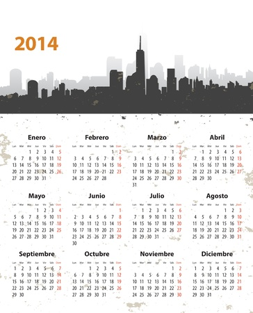 mondays: Spanish 2014 year stylish calendar on cityscape grunge background. Mondays first. Vector illustration Illustration