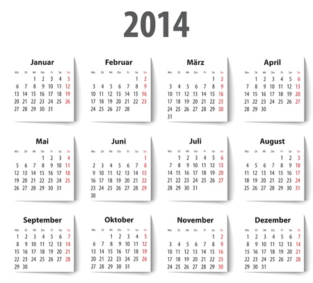 mondays: German Calendar for 2014 with shadows. Mondays first. Vector illustration