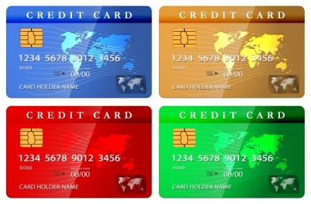 cr�dito: 4 cr�ditos color o plantilla de dise�o de la tarjeta de d�bito. Ilustraci�n vectorial