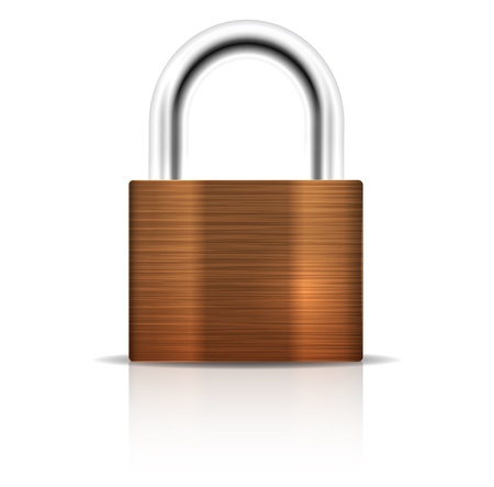 Metallic Padlock. Closed lock security icon isolated on white background.   Stock Vector - 19905615
