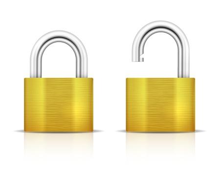 unlocked: Metallic Padlock. Locked and unlocked Padlocks isolated on white background. Vector illustration
