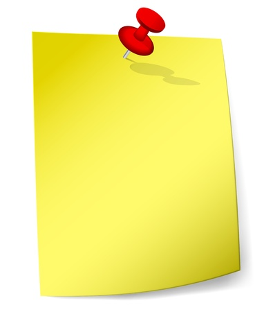 Blank yellow sticky note attached with red pin.