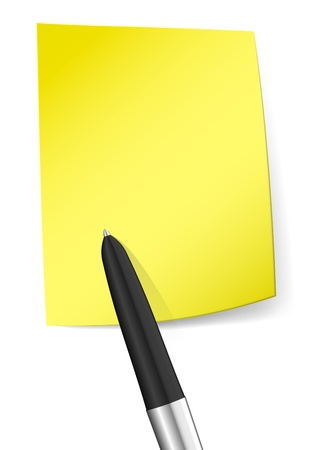 Blank yellow sticky note with pen. Stock Vector - 20215142